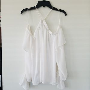 1. State Tops - 1. State, XS White Cold Shoulder Halter Top